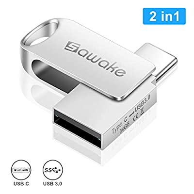 SAWAKE 64GB USB Flash Drive 2 in 1 USB 3.0 + Type C Memory Stick Waterproof Aluminum Pen Drive Portable Swivel Thumb Drive with Keychain for Andriod Device, Pc, Macbook,Tablet