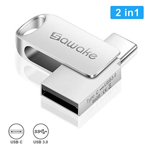 USB C Stick, SAWAKE USB Stick 64GB 3.0, Mini Memory Stick mit Schlüsselring, USB Speicherstick, Wasserdicht OTG Stick für PC/Laptop/Notebook/Typ-C Handy Geschenk zum Büro/Uni/Home