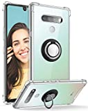 DAUPIN for LG Stylo 6 Case Clear with 360 Rotation Metal Ring Holder Stand, Support Magnetic Car Phone Mount Soft TPU Bumper PC Hard Back Protective Phone Case LG Stylo 6 for Women Men (Clear)