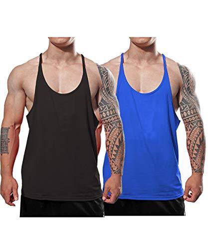 JEEING GEAR Men's Stringer Bodybuilding Workout Gym Tank Tops Y Back Cotton Color Black Blue 2pc Size S