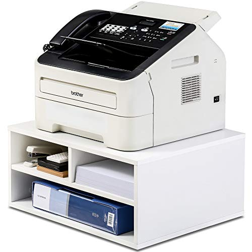 FITUEYES Printer Stands with Storage, Paper Organizer for Home & Office, Wood Desk Organizer, White, DO204705WW