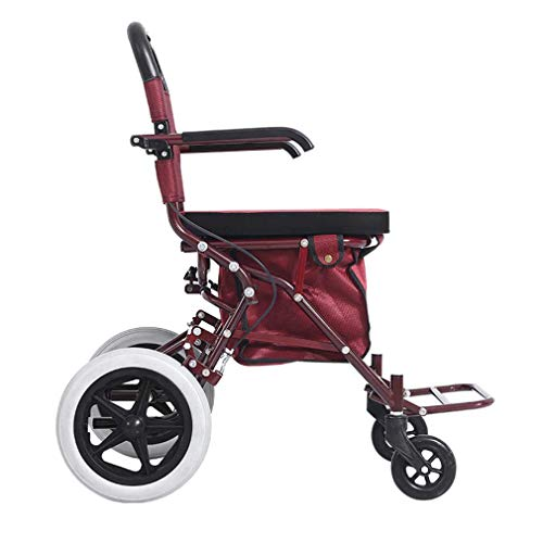 MYJZY Zusammenklappbare tragbare Gehhilfen für Senioren, ältere Rollatoren, medizinische Gehhilfen mit 4 Rädern, fahrbarer Rollator mit Sitz, Doppelbremssystem,Rot