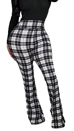 securiuu - Pantalón para Mujer (Talla XS), diseño de Cuadros, Color Verde Gris Gris XS