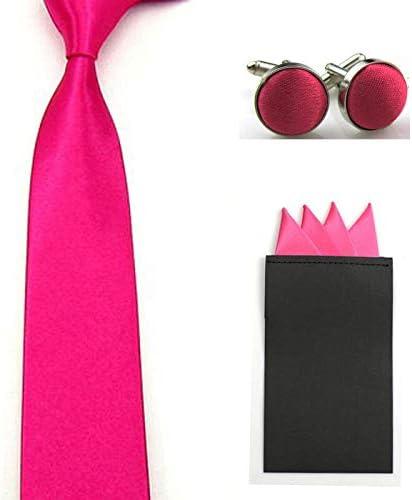 Men Solid Skinny Neck Tie Pre-Folded 4 Folds Hanky Pocket Square Cufflinks Set Color: Hot Pink