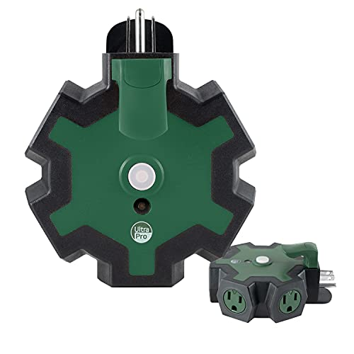 UltraPro Green Heavy Duty 5-Outlet Grounded Tap, Outdoor Extension Cord Adapter, Resettable Circuit Breaker and Storage Hook, Ideal for Seasonal Lighting, Decorations, Tools, and Appliances, 60214