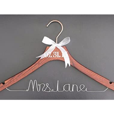 Personalized Wedding Hanger Bride with Name and Date Rustic Wire Wedding Hanger Mrs Wood Wedding Hangers Customized for Bridal Shower