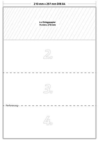 200 x Karteo® Einlegepapier | Warenanhänger VDA 4902 | Einleger 160g/m² | weiß hochwertiges perforiertes Papier 210 x 74 mm auf 50 Stk. DIN A4 Bögen zum Selbstbedrucken