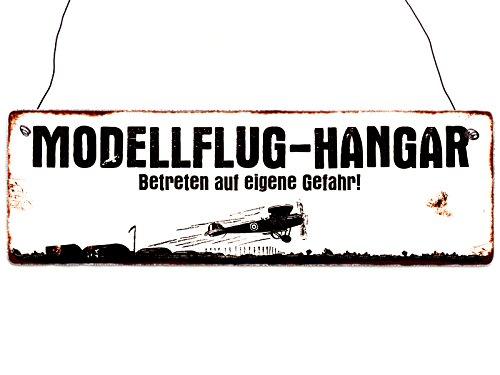 Interluxe Türschild Holzschild MODELLFLUG-Hangar Modellbau Club Modellflieger RC-Pilot Shabby Geschenk Dekoration