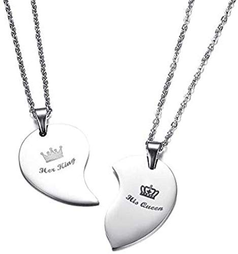 NC83 Fashion His Queen & Her King Crown Heart Necklace Stainless Steel Couple Love Forever Wedding Pendant Jewelry