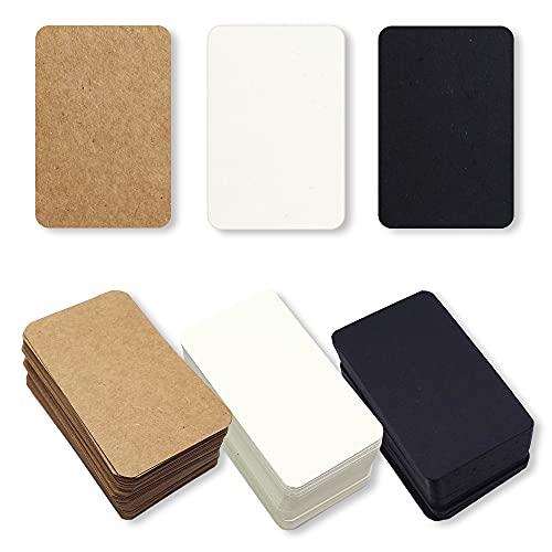 メッセージカード ギフト カード 荷札 値札 無地 ラベル タグ シンプル クラフト紙 白 黒 茶 (3色セット)