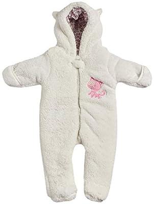 Duck Duck Goose Baby Girls Newborn Winter Soft Padded Snow Pram, Ivory Kitty (Sherpa), Size 0-3 Months