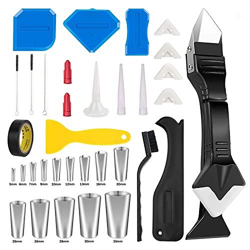 Silikon Abzieher Fugenwerkzeug, 35 Stück Silikonentferner Werkzeug Set mit Abdichtung Werkzeug Caulk Dichtmittelelentferner Fugenglätter, Kunststoffschaber-Set für Badezimmer Küchenboden Ecke