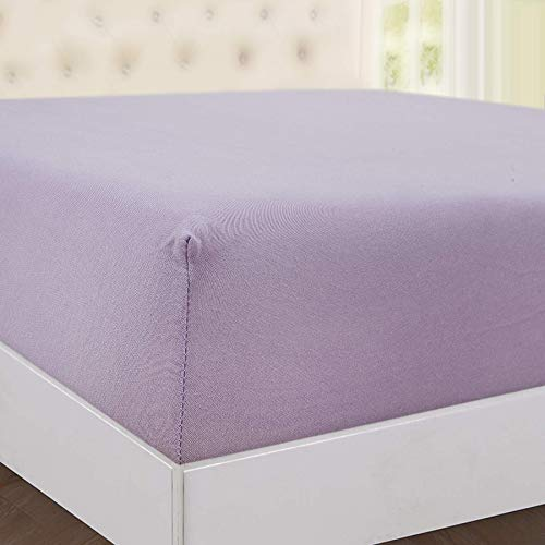 Zimel Homes Extra Deep 30 cm Super Soft Premium Quality 100% Cotton Jersey Fitted Sheet (Lilac, King: 160 X 200 cm)