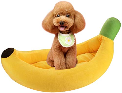 HYLL Soft Banana Dog Cat Bed Kennel Sofa Fluffy Calming Pet Bed Cushion Mat Self-Warming Plush Sleeping Bag Bed Nest for Cats Kitten and Small Medium Dogs Animals Puppy,Detachable and Washable.