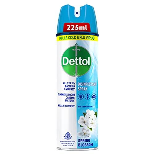 Dettol Disinfectant Sanitizer Spray Bottle | Kills 99.9% Germs & Viruses | Germ Kill on Hard and Soft Surfaces (Spring Blossom, 225ml)
