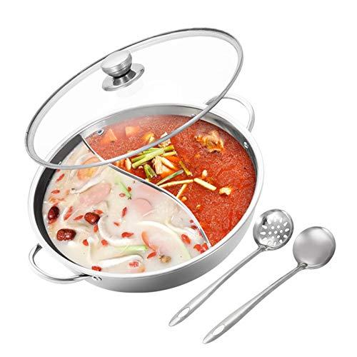 Hot Pot Edelstahl Shabu Shabu Pot für Induktions-Kochfeld Gasherd Geeignet für 2-4 Personen Mandarinen-Enten-Pot mit Divider & 2 Filter Löffel