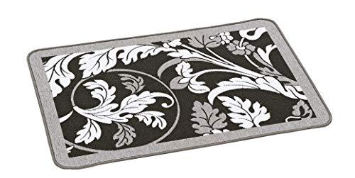HomeLife Tappeto Cucina Antimacchia e Antiscivolo 60X170 Made in Italy | Passatoia Moderna con Disegno a Foglie Lavabile | Tappeto Runner Lungo Colorato [60X170, Grigio]