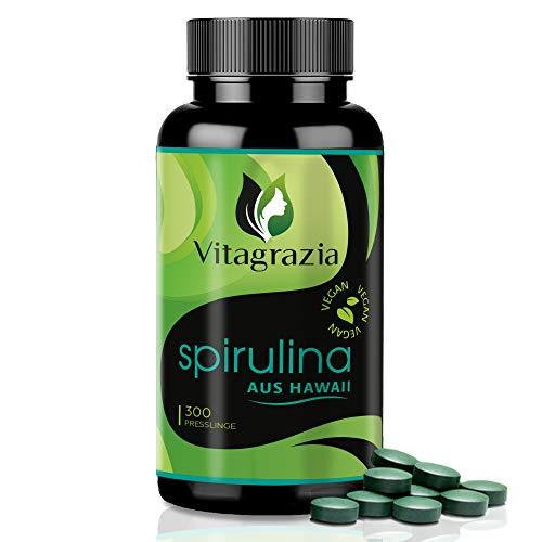 Vitagrazia Hawaii Spirulina Presslinge in 300 Tabletten Monatspackung für 30 Tagesportionen – 100% Hawaiianische Spirulina Alge