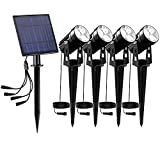 Solar Landscape Spotlights Outdoor,T-SUN Solar Powered Garden Spot Lights IP65 Waterproof Auto ON/Off Wall Lights for Lawn , Patio,Pool Area,Yard (6000K) (4 in-1)