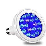 Luxbird LAP-301B 18W PAR38 Waterproof Blue Light Bulb Spectrum Enhancement LED Grow Light for Corals Indoor Plants Veg and Aquarium Plant 430nm 460nm