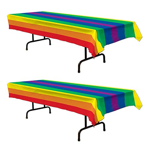 Beistle Plastic Rainbow Rectangular Tablecovers 2 Piece Party Supplies Tableware Pride Decorations, 54' x 108', Red/Orange/Yellow/Green/Blue/Purple