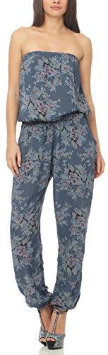 Malito Damen Einteiler geblümt | Overall mit Stoffgürtel | Jumpsuit mit Blumenmuster – Playsuit – Romper 1495 (Jeansblau)