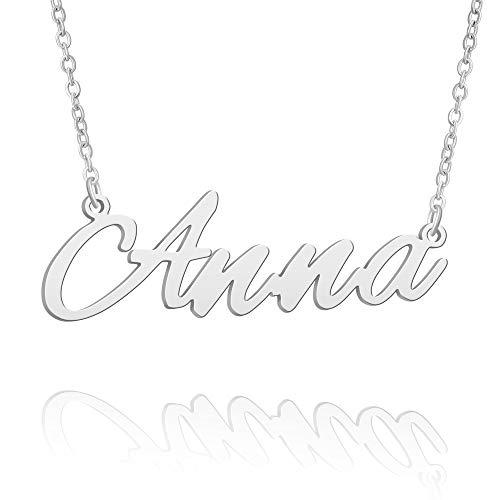 BUREI Collana con Nome Personalizzato da Donna Collana con Ciondolo in Argento Regali per Anna