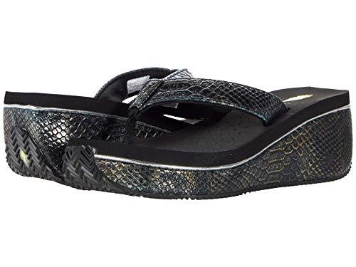 VOLATILE Women's FLIP Flop Sandal Wedge, Black Metallic Snake, 8