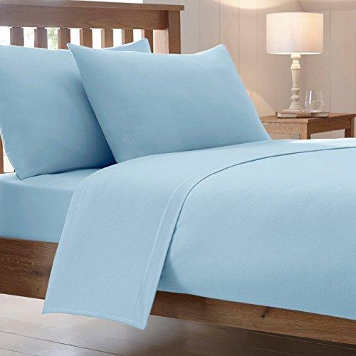 Drap de lit en polycoton peigné - Cotton Works, Tissu, bleu ciel, King
