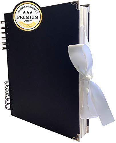 Premium Gästebuch I Fotoalbum Weiße Seiten I 80 Seiten für Fotos I Hochwertiges Scrapbook zum Selbstgestalten I DIY Fotobuch Selbstklebend I Album 26x20x3cm groß