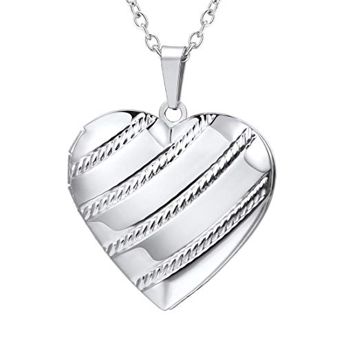 U7 Memorial Photo Locket Necklace That Hold Picture Memorial Platinum Plated Heart Pendant for Picture or Urn Ashes, with Gift Box