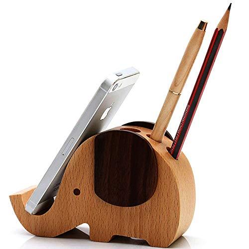 HyFanStr Mini-Holz-Elefant-Kugelschreiber/Bleistift Halter mit Handy Ständer Desktop Lagerung Organizer
