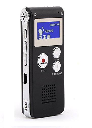 Registratore Vocale Portabile,8GB multifunzionale Digital Audio Voice Recorder ,con porta mini USB,Lettore musicale MP3