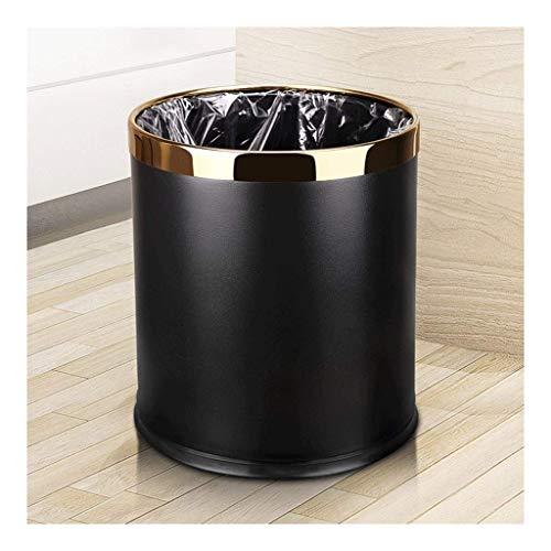Papeleras de basura, papel de basura de cuero + pintura metálica, contenedor de basura de oficina abierta, bin de doble capa 10 l 2.6 galones, for baño, dormitorio, oficina, contenedores de desechos (