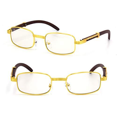 For Men's Gold Color Wood Effect Metal Frames Vintage Style Retro Eye Clear Lens Glasses (Rectangular)
