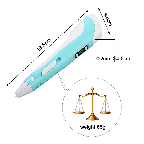 OBEST NIU 3D Drucker Stift,3D Pen 40-100℃ 3D Stift 3D Niedrige temperatur Stereoscopic Printing Pen Set mit LCD Bildschirm,5M 1.75mm PCL Filament,Intelligente Temperaturregelung USB Adapter für Kinder Drawing Freihand 3D Zeichnungen - 6