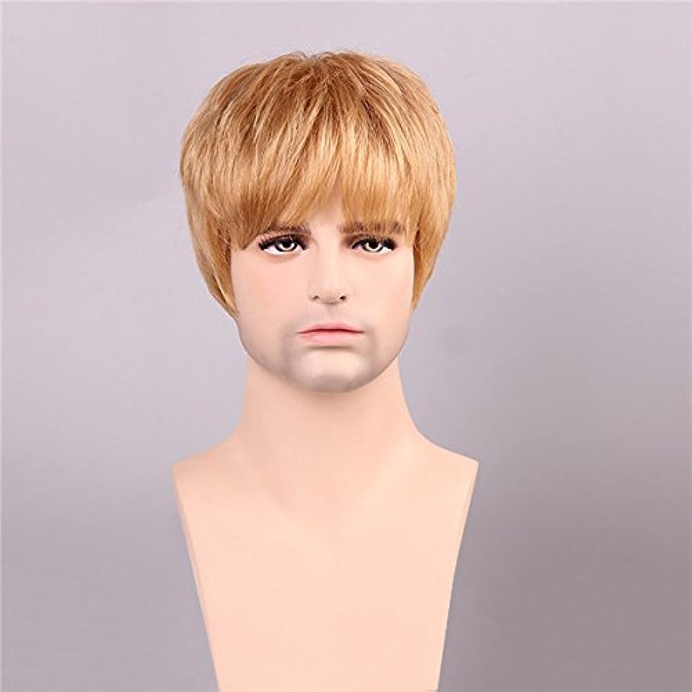 症状ポゴスティックジャンプ怖がらせるYZUEYT 男性の人間の髪のウィッグゴールデンブラウンブロンドショートモノラルトップ男性男性レミーCapless YZUEYT (Size : One size)