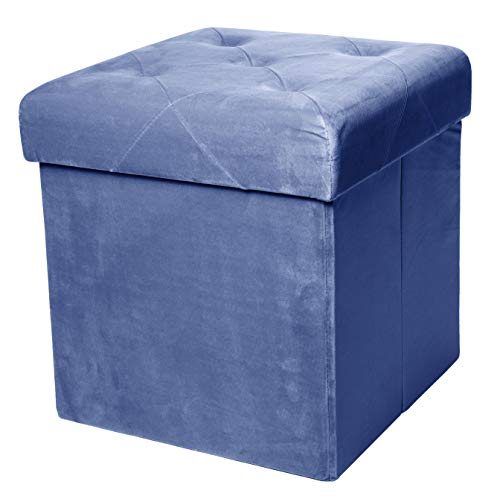 Red Co Square Luxury Storage Ottoman with Padded Seat Upholstered Collapsible Folding Bench amp Foot Rest Velvet Navy 15 Inches