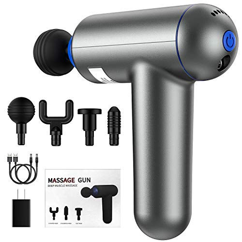 Deep Tissue Muscle Massage Gun USB Rechargeable Super Quiet Percussion Massage Gun 6 Speeds Handheld Electric Massager Body Massage with 4 Massage Heads and 2 USB Charging Cables (Grey)
