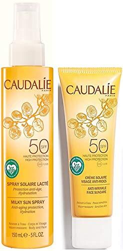 Caudalie Solaire - Set de crema antiarrugas para el rostro 50 SPF y Caudalie Spray Solaire Lacte 50 SPF