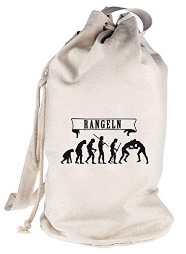 Shirtstreet24, EVOLUTION RANGELN, bedruckter Seesack Umhängetasche Schultertasche Beutel Bag, Größe: onesize,natur