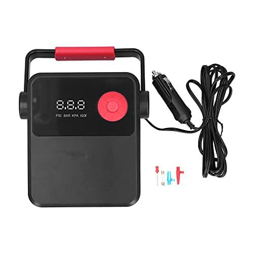 Compresor de aire portátil para automóvil Aramox Inflador de neumáticos digital, Pantalla LCD Tipo de encendedor de cigarrillos con luz LED con adaptador de boquilla