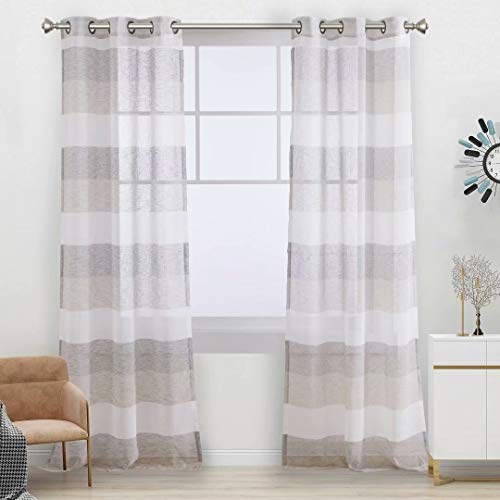 Aloft Striped Sheer Curtains for Bedroom - Linen Look Color Block Semi Sheer Drapes 84 inches Long Grommet Voile Window Curtain for Farmhouse and Living Room, Natura, 40x84, 2 Panels