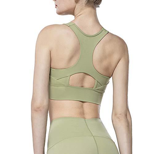 Nobranded Soutien-gorge de sport pour femme Motif treillis -  Vert - L