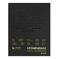 Legion Stonehenge Aqua Watercolor Pad, 140lb, Cold Press, 8 by 10 Inches, Black Paper, 15 Sheets (L21-SQC140BK810) [並行輸入品]