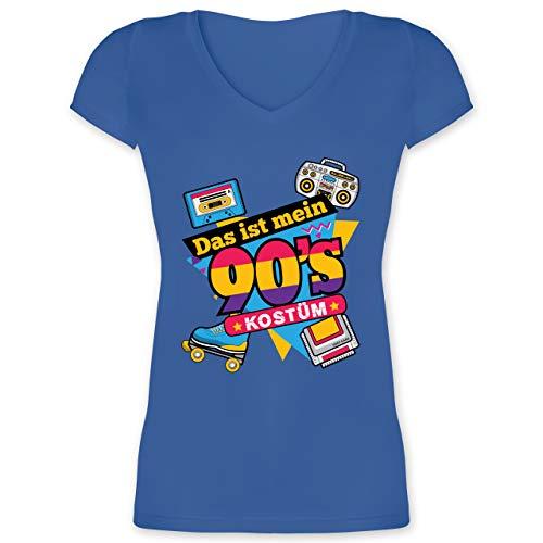 Karneval & Fasching - Das ist Mein 90er Jahre Kostüm - L - Blau - t-Shirt 90er Damen - XO1525 - Damen T-Shirt mit V-Ausschnitt