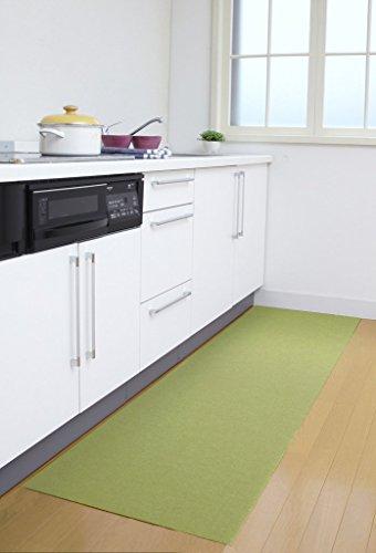 サンコー 洗えるロングキッチンマット ズレないおくだけ吸着 はっ水 60×180cm グリーン KL-43(日本製 180)