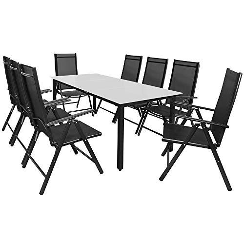Casaria Sitzgruppe Bern 8+1 Aluminium 7-Fach verstellbare Hochlehner Stühle Milchglas Tisch Anthrazit Gartenmöbel Set