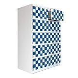 banjado Möbelaufkleber passend für IKEA Malm Kommode 6 Schubladen | Selbstklebende Möbelfolie | Sticker Tattoo perfekt für Wohnzimmer und Kinderzimmer | Klebefolie Motiv Karo Dunkelblau