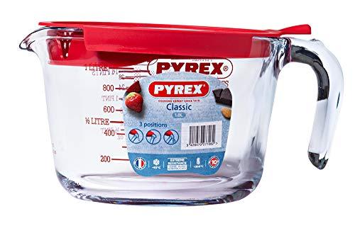 Pyrex Classic VERRE Messbecher 1l mit Deckel, Borosilikatglas, Transparent, 20.87 cm